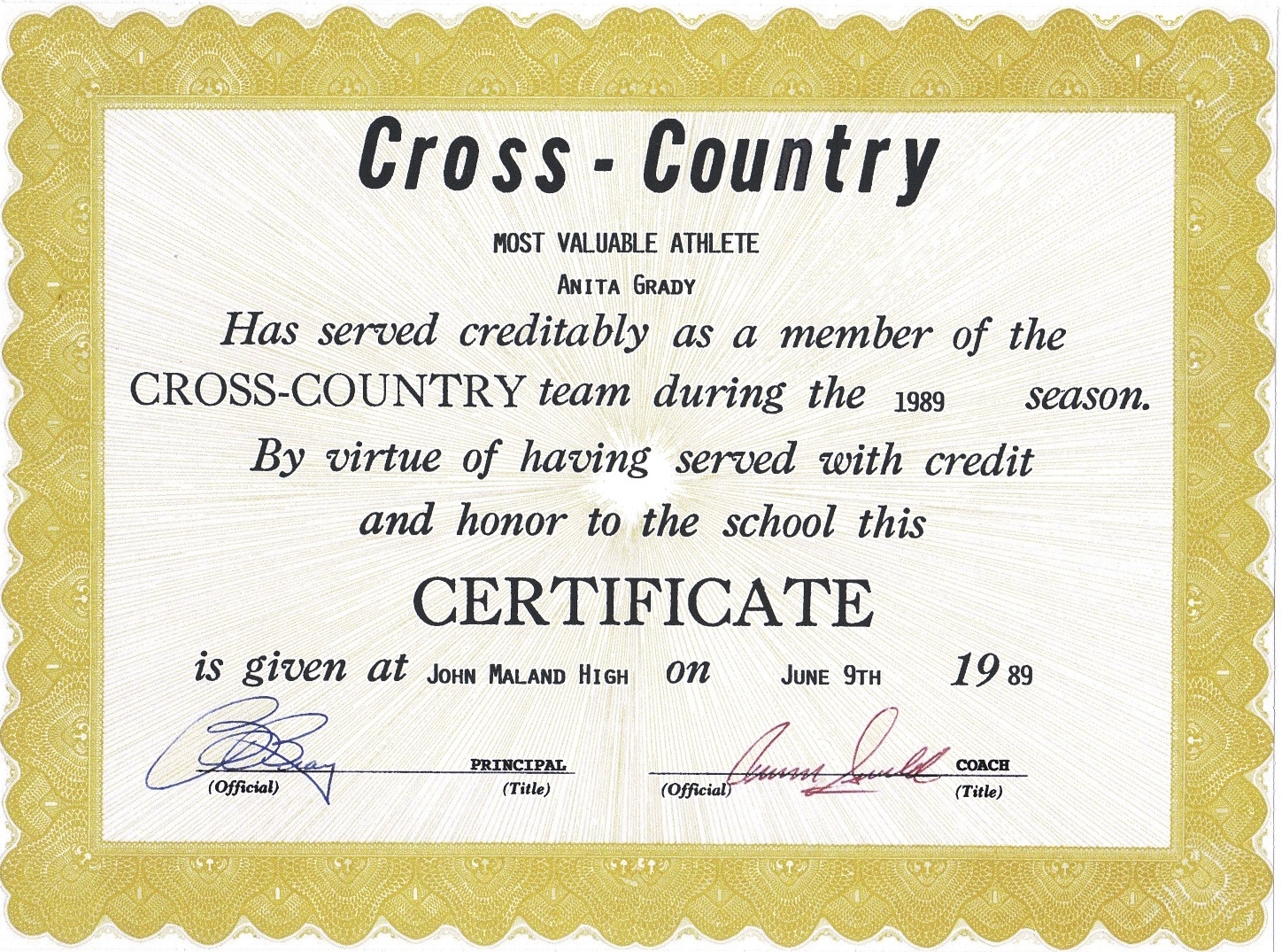 Student council award certificates for Cross country certificate templates free
